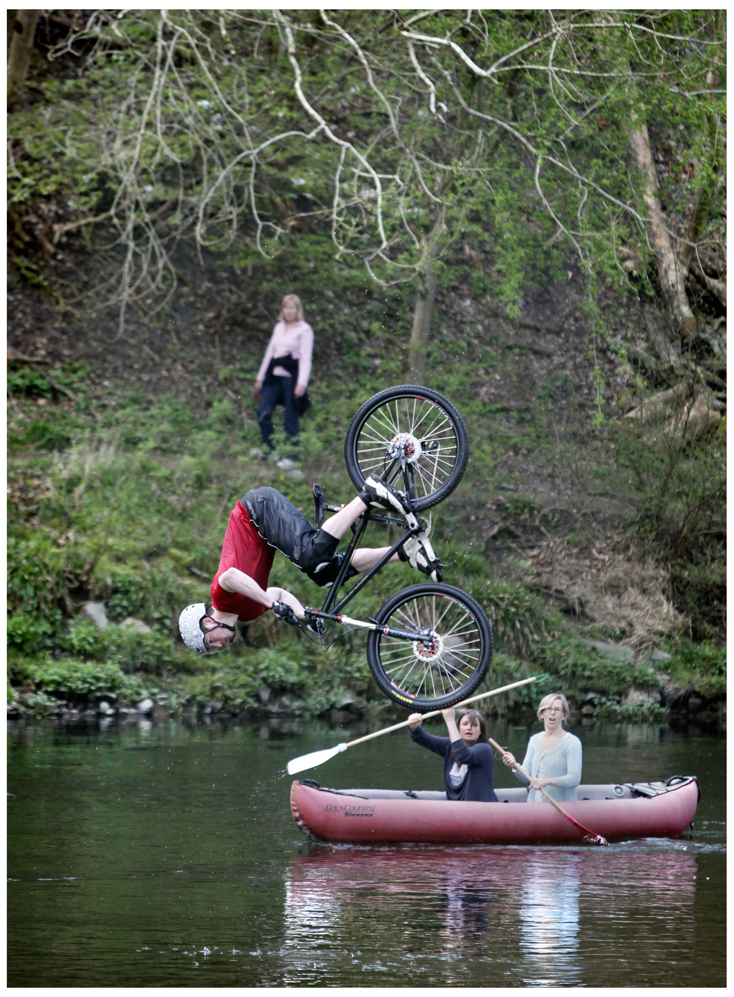 Bikers - they're worse than spawning salmon. Just need to hit them with the paddle...