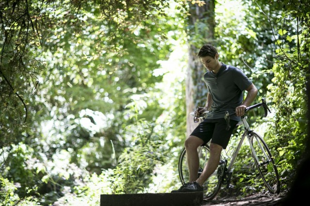 Not mountain biking exactly- but he is in the woods.