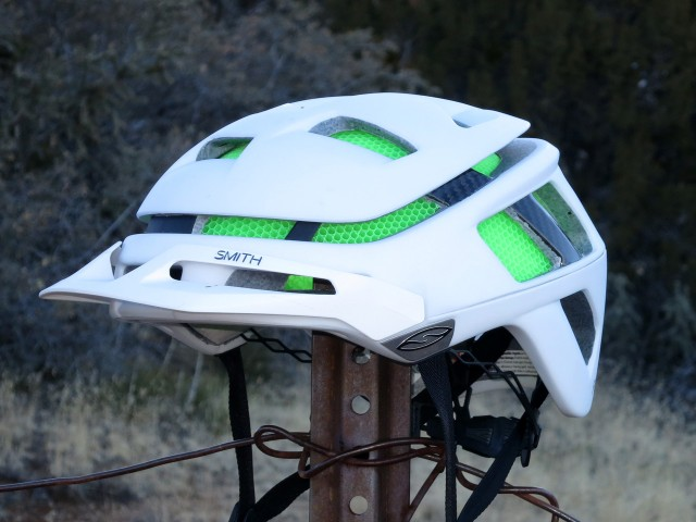 Two-position removable visor, shell-mounted straps