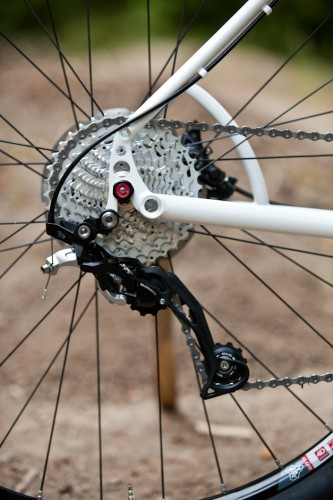 Tall dropout allows for tucked-in brake mount