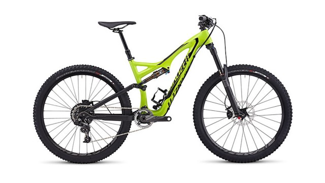Carbon frame, mid-sized wheels, and lots of lime.