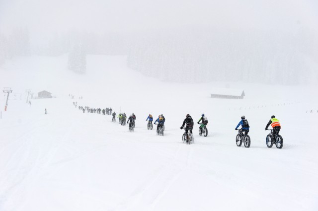during stage 5 of the first Snow Epic, the Trübsee climb near Engelberg, in the heart of the Swiss Alps, Switzerland on the 17th January 2015 Photo by: Stephan Boegli / Snow Epic / SPORTZPICS