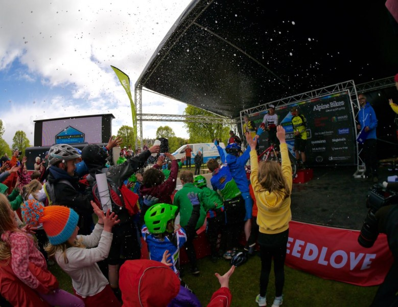 The kids were loving the champagne showers