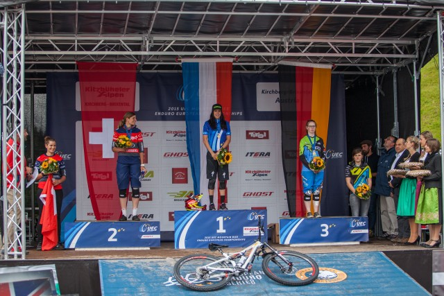 Ceremony awards at the 1st UEC MTB Enduro European Championships in Kirchberg, Tyrol, Austria, on June 21, 2015. Free image for editorial usage only: Photo by Antonio López Ordóñez.
