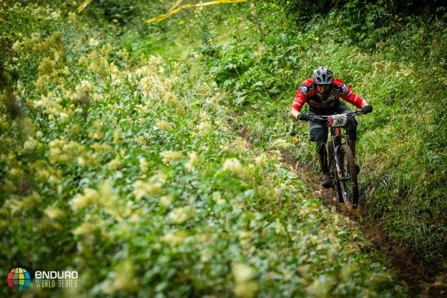 Thomas Lapeyrie on stage one during Enduro World Series round 4, Samoens, France, 2015. Photo by Matt Wragg.