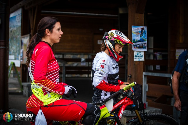 Tracy Moseley heads for the lift to start racing during Enduro World Series round 4, Samoens, France, 2015. Photo by Matt Wragg.