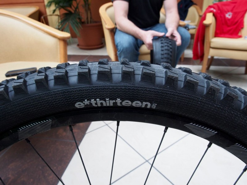 Hand cut last stage of development E*Thirteen tyre tire