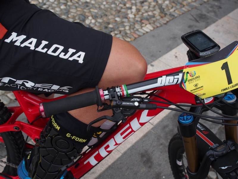 A bit of Italian flair from James Richards on Tracy Moseley's bike