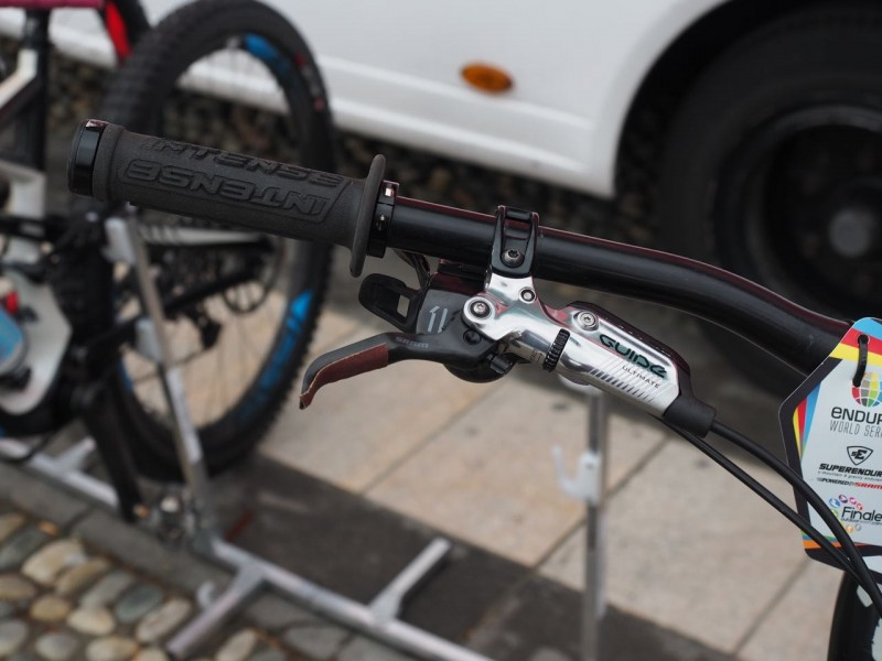Curtis anticipating a wet day has gone for more grip on his brake levers