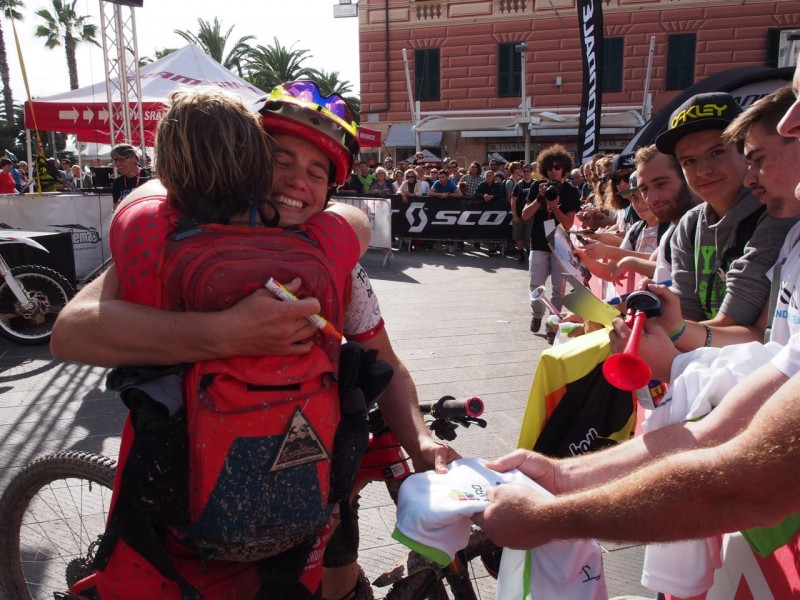 A congratulatory hug from Anka Martin for tracey moseley at ews enduro world series finale ligure italy 2015