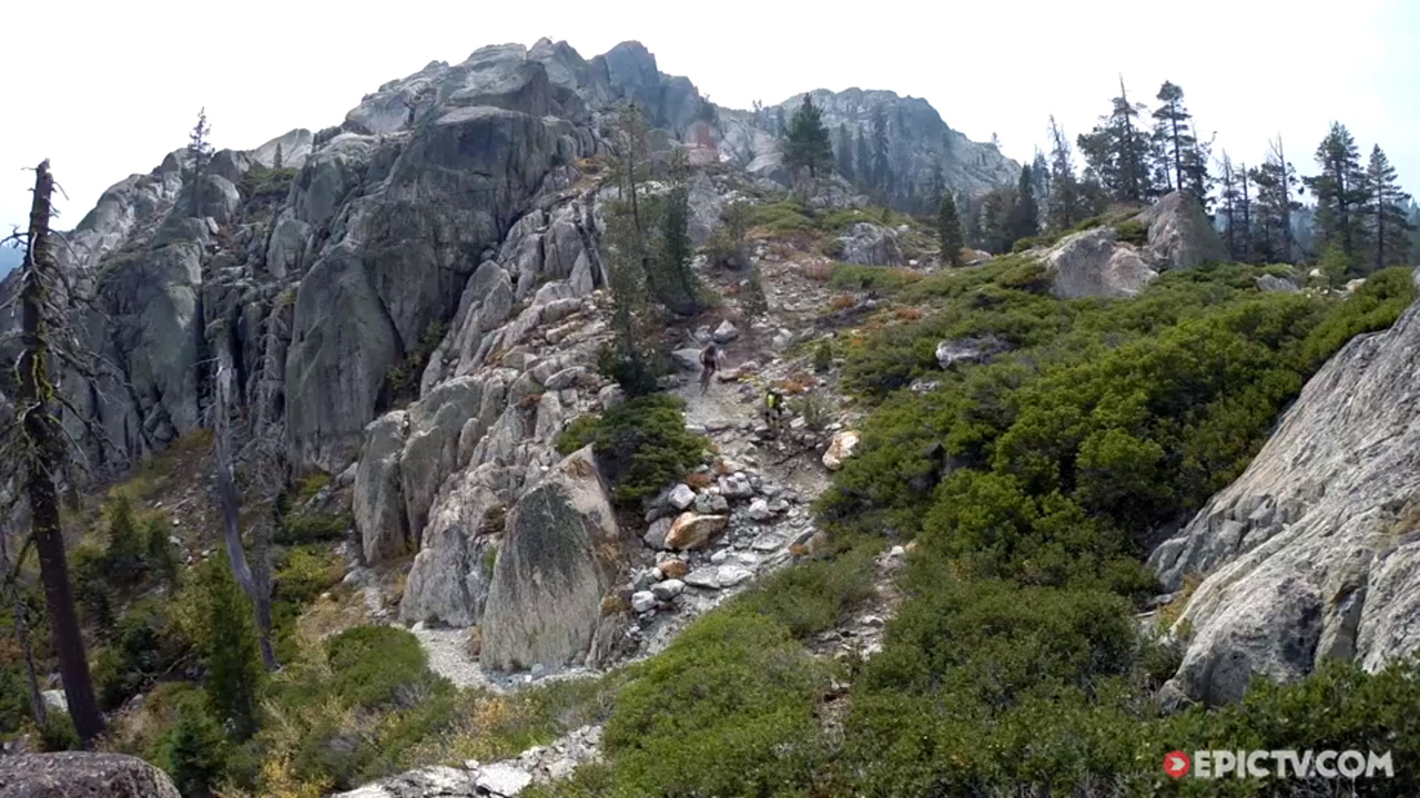 Dan Milner, Mark Weir and Ben Cruz ride the Lakes Basin, Sierra Nevada, California