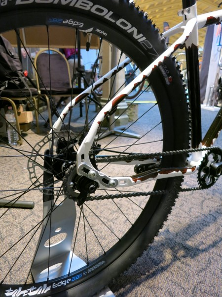 Bice bicycles hand made sliding drop out outers aligned to allow wheel radius change