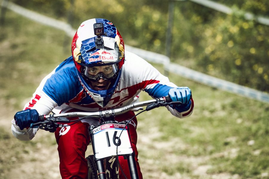 Bruni Loic performs at the UCI DH World Tour in Mont Saint Anne, Canada on August 6th, 2016 // Bartek Wolinski/Red Bull Content Pool // P-20160807-00029 // Usage for editorial use only // Please go to www.redbullcontentpool.com for further information. //