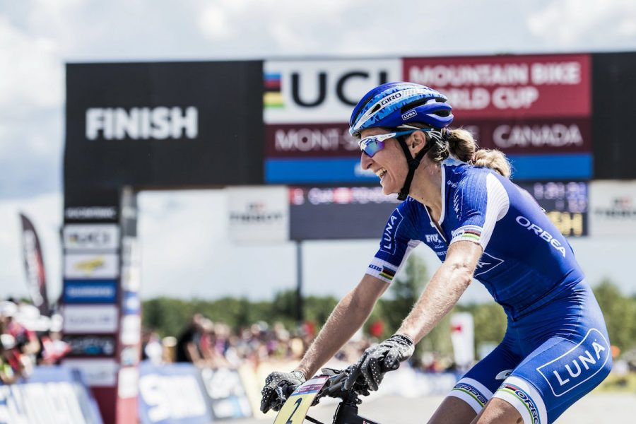 Catharine Pendrel seen during the UCI XCO World Tour in Mont Saint Anne, Canada on August 7th, 2016 // Bartek Wolinski/Red Bull Content Pool // P-20160808-00054 // Usage for editorial use only // Please go to www.redbullcontentpool.com for further information. //