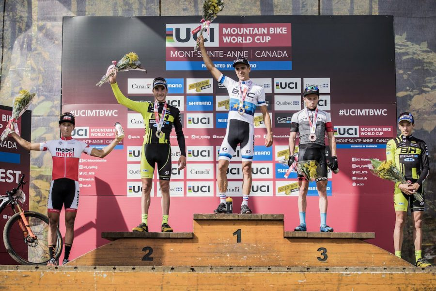 Matthias Stirnemann, Koretzky Victor, Julien Absalon, Mathias Fluckiger, Sarrou Jordan stand on the podium at the UCI XCO World Tour in Mont Saint Anne, Canada on August 7th, 2016 // Bartek Wolinski/Red Bull Content Pool // P-20160808-00114 // Usage for editorial use only // Please go to www.redbullcontentpool.com for further information. //