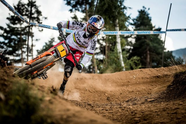 Rachel Atherton performs during the UCI DH World Tour in Vallnord, Andorra, 1 September, 2016 // Nathan Hughes/ Red Bull Content Pool // P-20160902-09181 // Usage for editorial use only // Please go to www.redbullcontentpool.com for further information. //