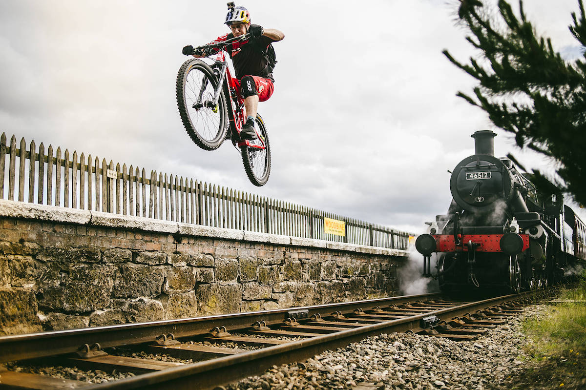 danny macaskill red bull train steam trails santa cruz gopro