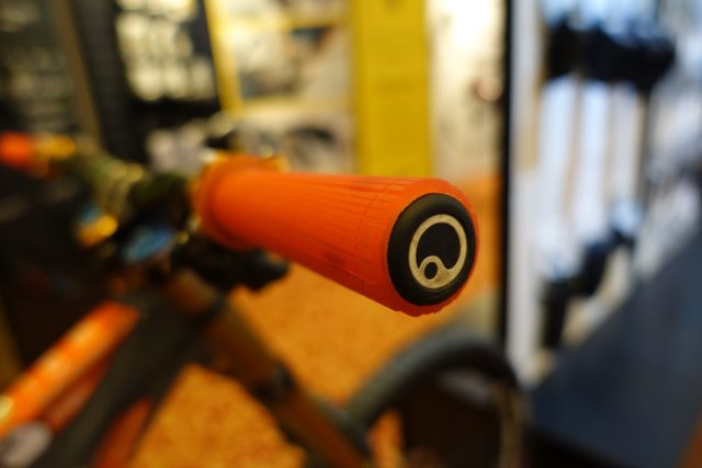ergon gd1 lock on grips orange gloves