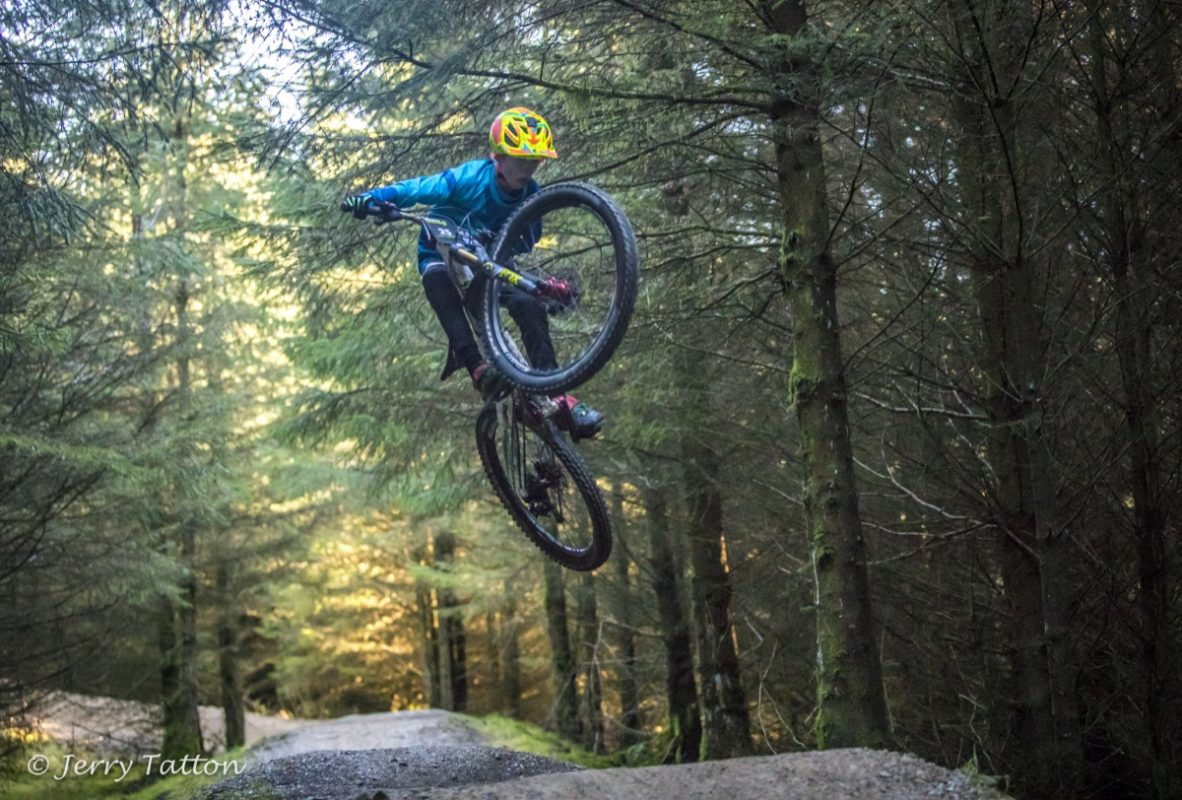 Harry Hemingway Age 11 styling it on on the Hope Line at Gisburn Forest during the enduro.