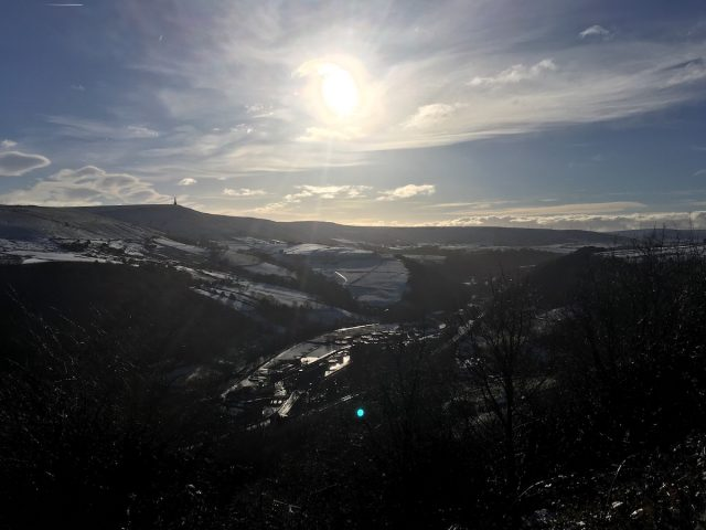 todmorden stoodley pike hebden bridge calderdale snow sunshine