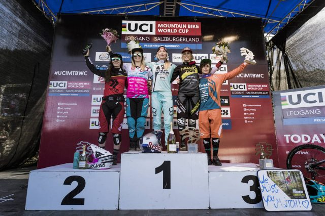 downhill womens world cup leogang podium