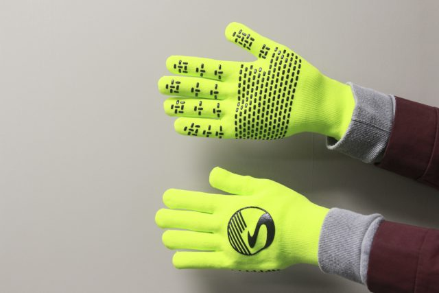 showers pass fluoro yellow gloves winter