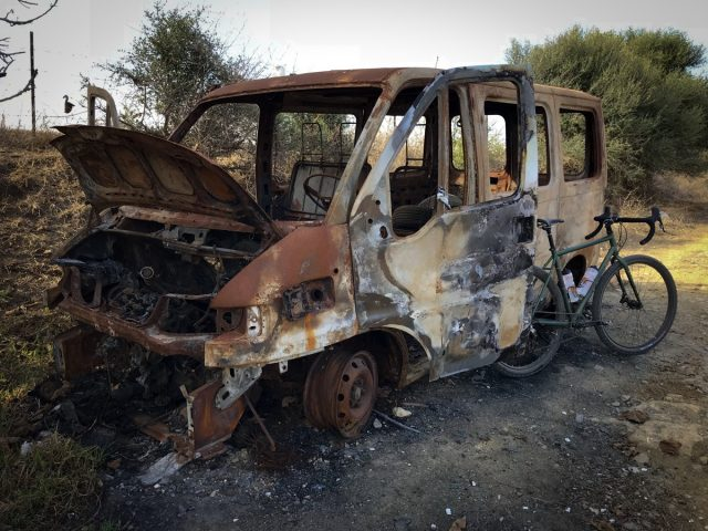 Burnt out van Spain