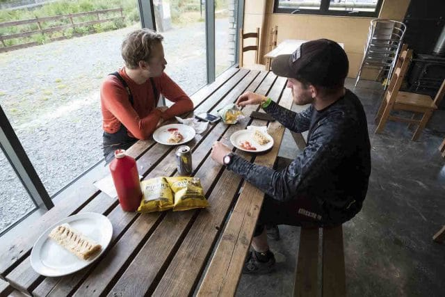 antur stiniog picnic table trail centre food rob wil chips sauce burger