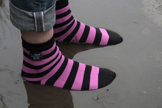 dexshell bamboo socks waterproof pink stripes puddle wet