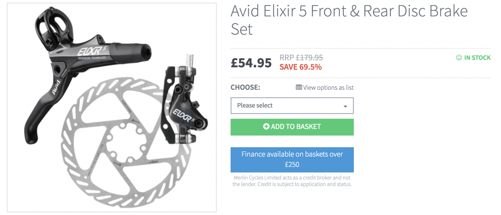 Avid Elixr Front and Rear Disc Brake Set - £54.99