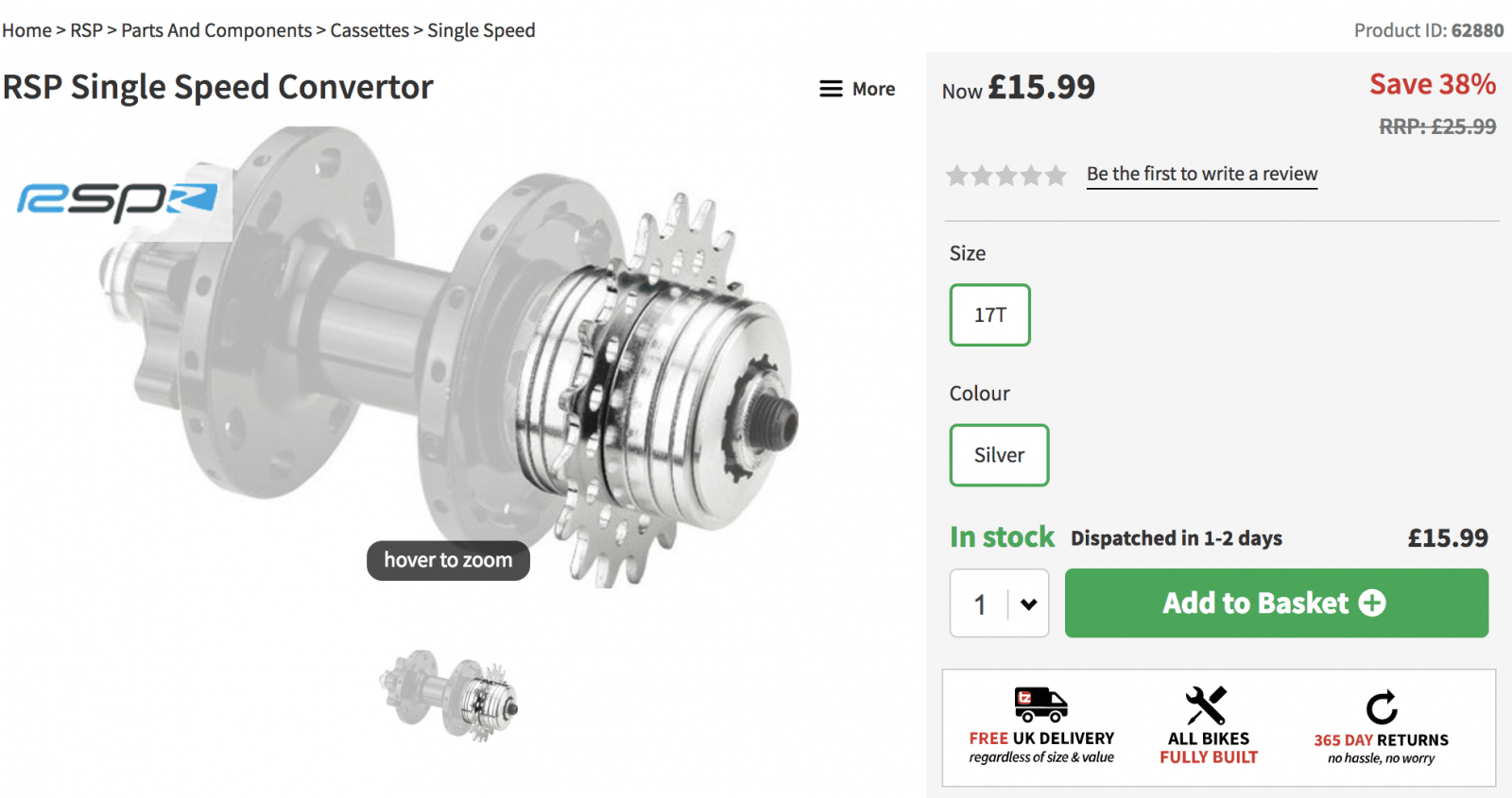 RSP Single Speed Converter - £15.99