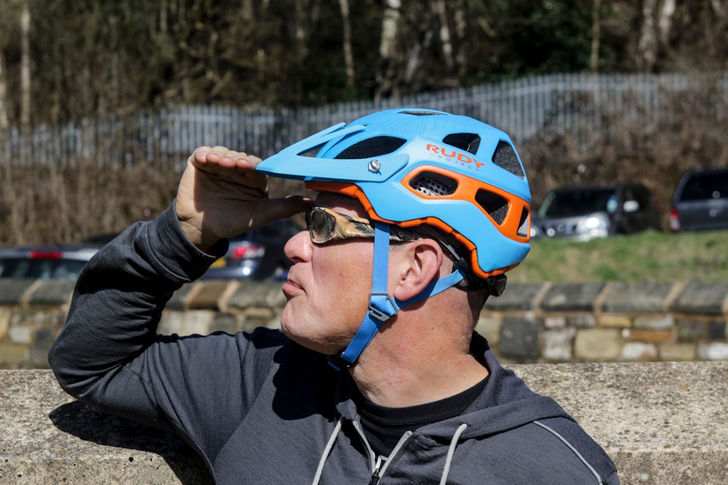 chipps helmet rudy project sunny enduro blue orange