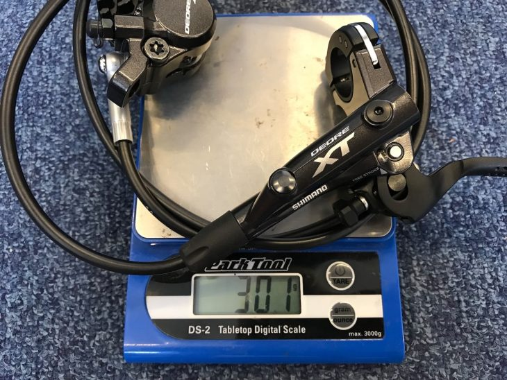 shimano deore xt 4-piston brake pads scales weight