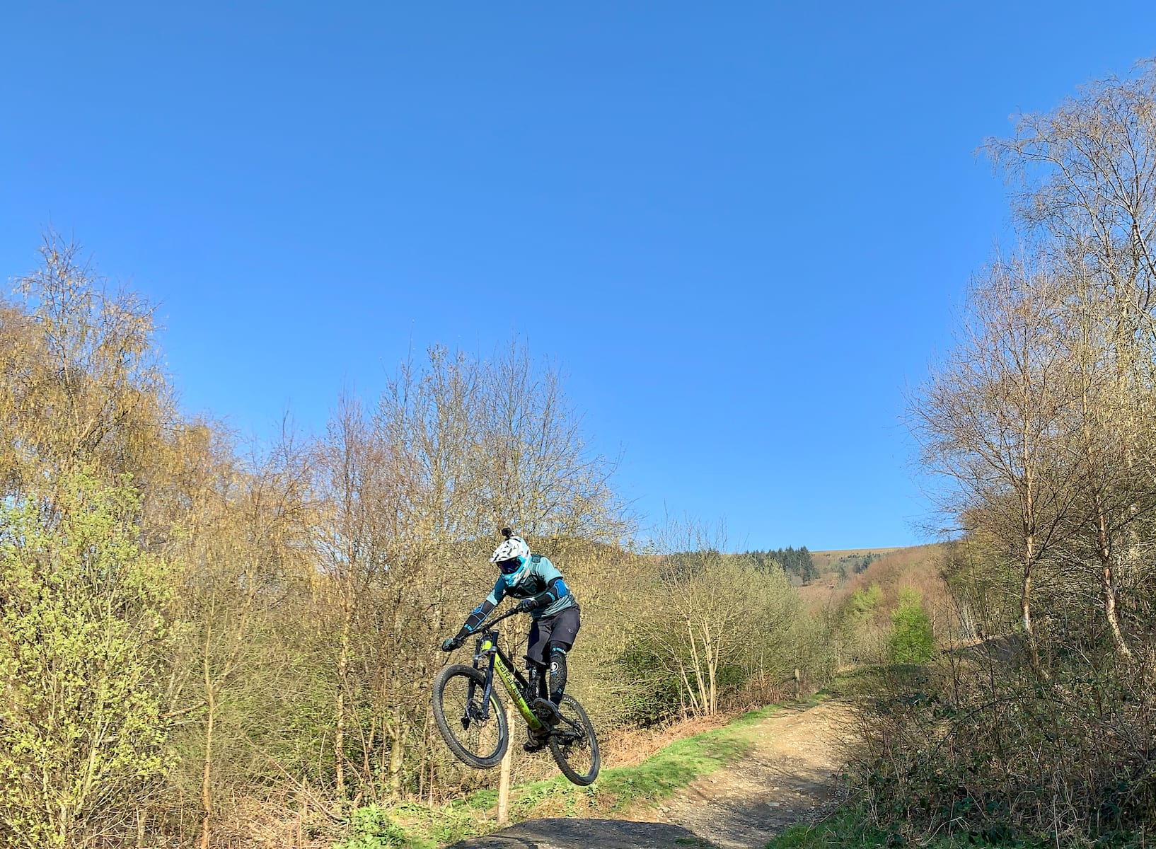 Road racer doing a jump