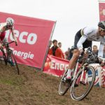 Current cyclocross World Champion tackles a technical descent in the second lap of the Bpost Bank Trofee race in Ronse. This was the first outing of the rainbow jersey since his win at Hoogerheide earlier this year. Note the custom paint job on his Specialized Cruz.